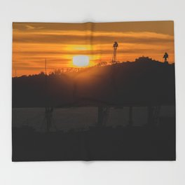 Aerial View Sunset Scene of Montevideo Uruguay Throw Blanket