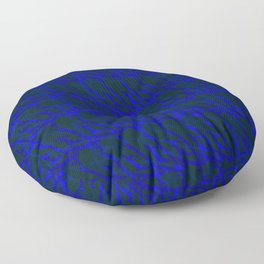 Braided geometric pattern of wire and violet arrows on a dark background. Floor Pillow
