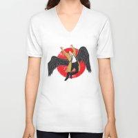 led zeppelin V-neck T-shirts featuring Cas Zeppelin by DiHA