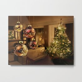 Holiday Christmas Decoration Bauble Room Ligths Ch Metal Print