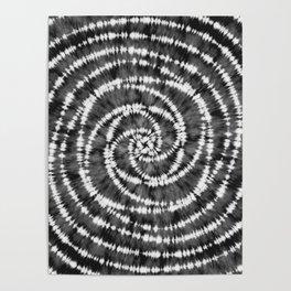Black & White Spiral Tie Dye  Poster
