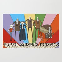 freud Area & Throw Rugs featuring Super Science Friends Team by Super Science Friends