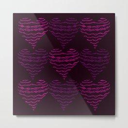Squiggly Heart Pattern Purple Pink Metal Print