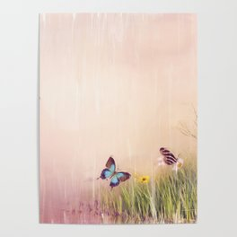 Digital Painting of Butterflies on a field Poster