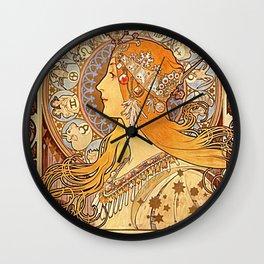 Alphonse Mucha Zodiac La Plume Wall Clock