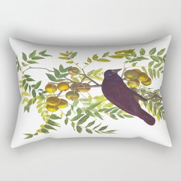 American Crow Hand Drawn Illustrations Vintage Scientific Art John James Audubon Birds Rectangular Pillow