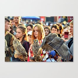 Owls and Falcons and their Tamers  Canvas Print