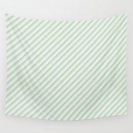 Pastel Tones Inclined Stripes Wall Tapestry