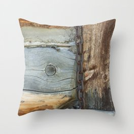 Weathered - Old Barn Wood & Rusted Chain Mormon Row Cabins Closeup Throw Pillow