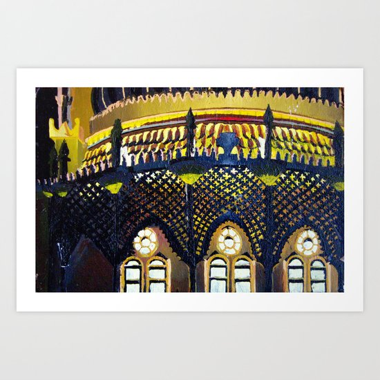 Brighton Pavilion by night Art Print