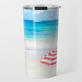 Beach umbrella by the ocean in sunny day Travel Mug