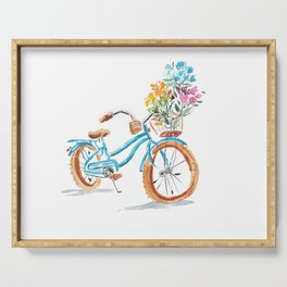 Bike with flowers Serving Tray