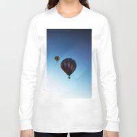hot air balloons Long Sleeve T-shirts featuring Rainbow Hot Air Balloons by Rachel Butler