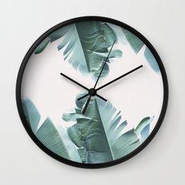 Blue Tropical Banana Leaf Plant Wall Clock