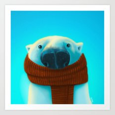 Polar bear with scarf Art Print