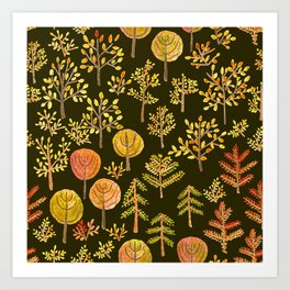 Watercolor autumn forest in doodle style Art Print