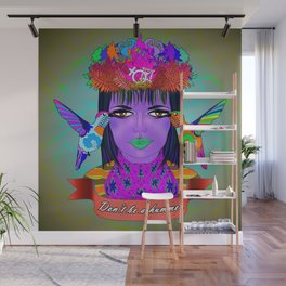 Don't Be a Hummer- Woman and Hummingbird Feminist Portrait Wall Mural