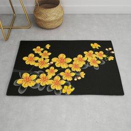 oriental orange sakura flower Rug