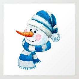 Blue Snowman 01 Art Print