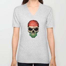Dark Skull with Flag of Hungary Unisex V-Neck