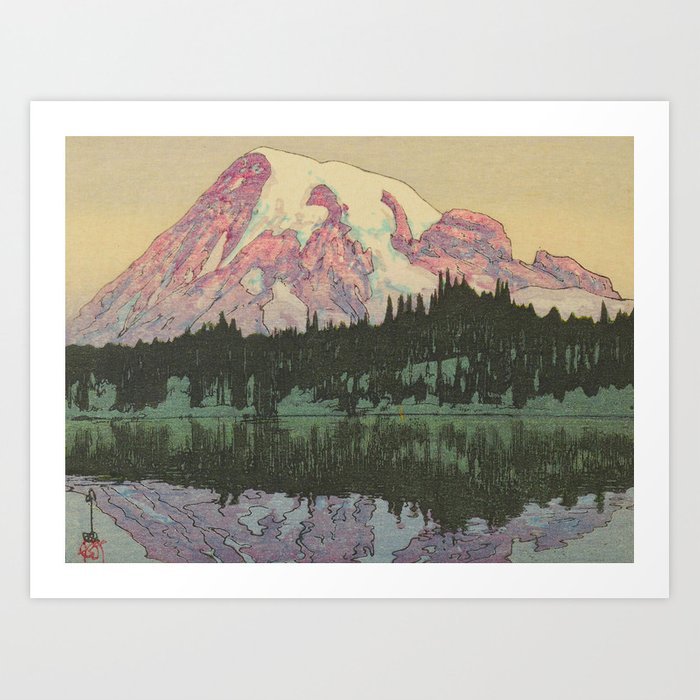 Hiroshi Yoshida Vintage Japanese Woodblock Print Reflection Lake Landscape Art Print By Enshape