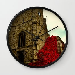 flowing poppies Wall Clock