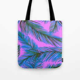 Blue and Purple Palms Pattern Tote Bag