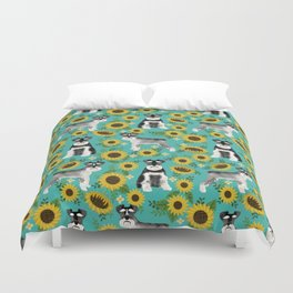 Schnauzer sunflowers spring summer floral dog breed dog pattern pet friendly Duvet Cover