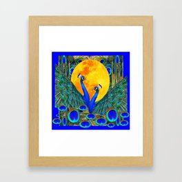 FULL GOLDEN MOON BLUE PEACOCK  FANTASY ART Framed Art Print