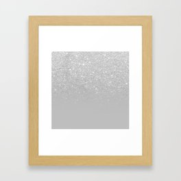 Trendy modern silver ombre grey color block Framed Art Print