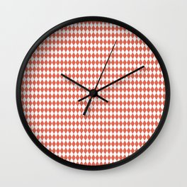Pantone Living Coral Rippled Diamonds, Harlequin, Classic Rhombus Pattern Wall Clock