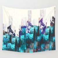 cities Wall Tapestries featuring Cold cities by HappyMelvin