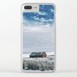 Red Barn In Winter Clear iPhone Case