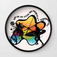 surfing Wall Clocks featuring Surfing by mark ashkenazi