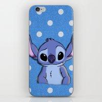 lilo and stitch iPhone & iPod Skins featuring Lilo and Stitch - Stitch by Julia Kolos