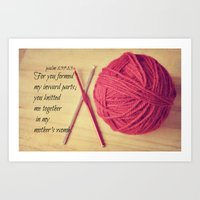 scripture Art Prints featuring Psalm 139 Baby Scripture by KimberosePhotography