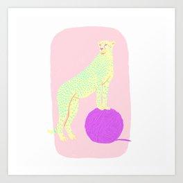 BIG CAT WITH YARN BALL Art Print