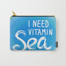 i need vitamin sea White text on blue abstract background, symbol of the sea ocean trendy print Carry-All Pouch
