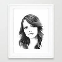 emma stone Framed Art Prints featuring Emma Stone minimalist digital portrait by Thubakabra