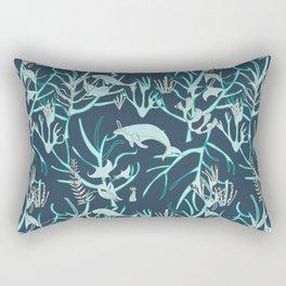 Nautical Toile de Jouy Blue Rectangular Pillow