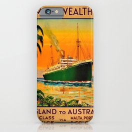 Vintage Aberdeen & Commonwealth Line Travel Poster England to Australia iPhone Case