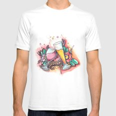 Wine and Beer Forever White MEDIUM Mens Fitted Tee