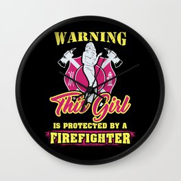 Firefighter Girlfriend T-Shirt life saver wife  Wall Clock