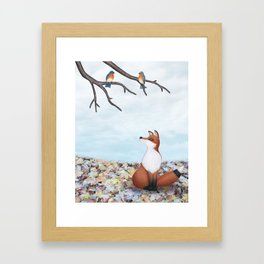 fox and eastern bluebirds Framed Art Print