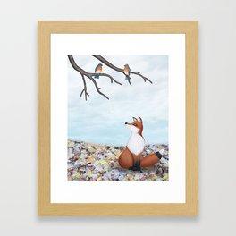 fox and eastern bluebirds Framed Art Print