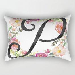 Floral P Monogram Rectangular Pillow