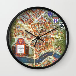 HARVARD University map MASSACHUSETTS Wall Clock