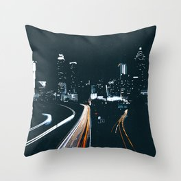 Atlanta Georgie Skyline at Night Throw Pillow
