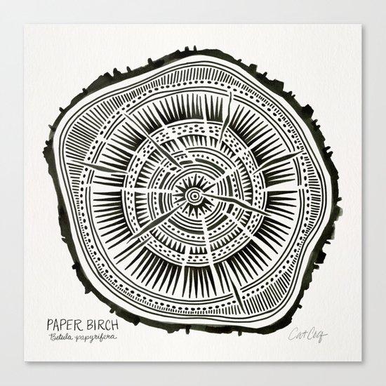 Paper Birch – Black Tree Rings Canvas Print