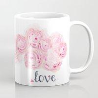shabby chic Mugs featuring Shabby Chic Rose Bouqet by KarenHarveyCox